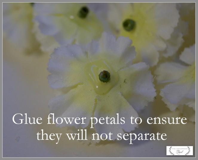 gluing flower petals